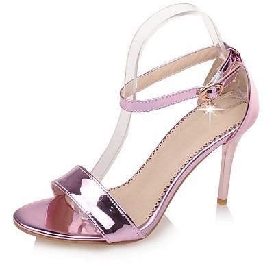 Damen Schuhe Lackleder Frühling Sommer Knöchelriemen Stöckelabsatz Schnalle Für Hochzeit Kleid Party & Festivität Silber Rosa Golden