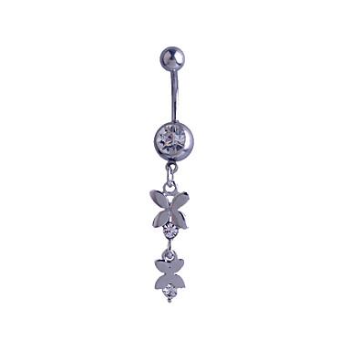 Prata de Lei Imitações de Diamante Anel de umbigo / Piercing no ventre - Mulheres Prata Luxo Original Fashion Outros Borboleta Animal