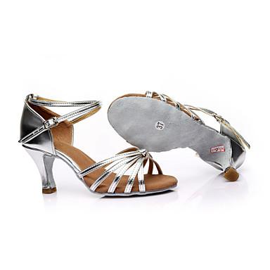 baratos Sapatos de Salsa-Mulheres Sapatos de Dança Cetim Sapatos de Dança Latina / Sapatos de Salsa Presilha Sandália Salto Personalizado Personalizável Leopardo / Transparente / Preto e Vermelho / Interior / Espetáculo
