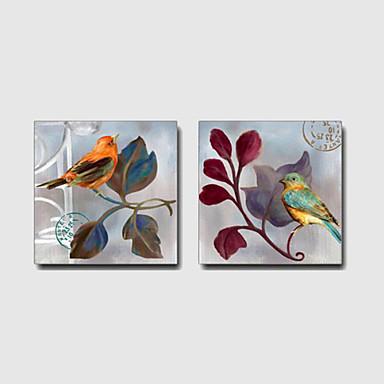Kézzel festett Állat / Szabadidő / Virágos / BotanikusModern / Mediterrán / Európai stílus Két elem Vászon Hang festett olajfestmény For