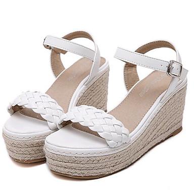 נעלי נשים-סנדלים-דמוי עור-פלטפורמות / עקבים-לבן / אפור-שטח / קז'ואל-עקב וודג'
