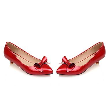 Habillé Eté Noeud Heel Femme Amande Rouge Faux Printemps Rose Kitten Cuir 04976637 Chaussures 0xFqfP
