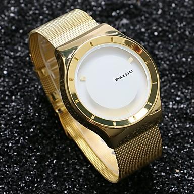 Herrn Einzigartige kreative Uhr Armbanduhr Quartz Schlussverkauf Edelstahl Band Charme Gold