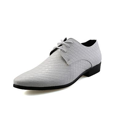 Homens Sapatos formais Couro Sintético Primavera / Outono Negócio Oxfords Caminhada Branco / Preto / Prata / Casamento / Festas & Noite / Sapatos de vestir