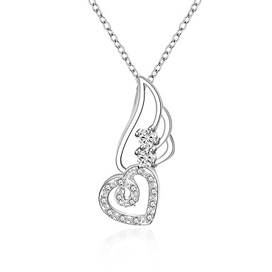 Damen Sterling Silber Zirkon Kubikzirkonia Silber Halsketten Anhängerketten Anhänger - Synthetische Edelsteine Sterling Silber Zirkon