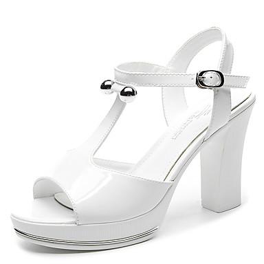 Damen Schuhe Kunstleder Frühling Sommer Herbst Blockabsatz Perle Für Hochzeit Kleid Weiß Silber