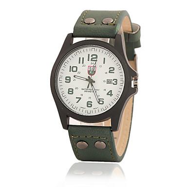 Masculino Relógio de Pulso Quartzo Couro Banda Preta Branco Marrom Verde Cáqui Branco Preto Marron Verde Khaki