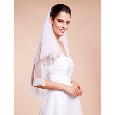 Menyasszonyi fátyol Kétkapcsos Könyékig érő fátylak Ceruza hegye Tüll Fehér Elefántcsontszín