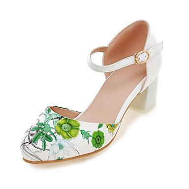 Femme Chaussures Similicuir Printemps / Eté Talon Bottier Fleur Noir / Rouge / Vert / Mariage / Soirée & Evénement / Habillé