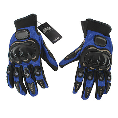 Motorrad-Handschuhe Vollfinger Nylon M Blau