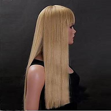 Women Synthetic Wig Long Golden yellow Costume Wigs Halloween Wig Carnival Wig Costume Wigs