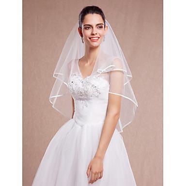 dwuwarstwowe welony welurowe na ślub z tiulowymi dodatkami ślubnymi