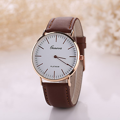 Geneva Homens Relógio de Pulso Relógio Casual Couro Banda Minimalista Preta / Marrom / Tianqiu 377
