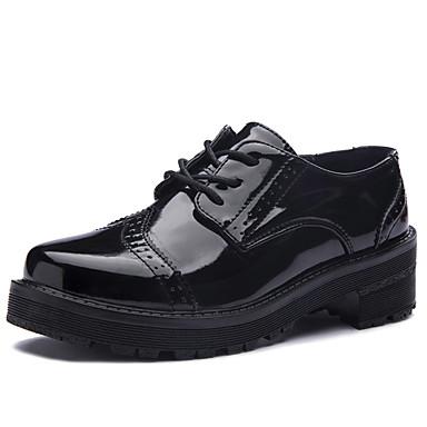 Oxfords-laklæder-Komfort Gladiator-Dame-Sort-Fritid-Tyk hæl