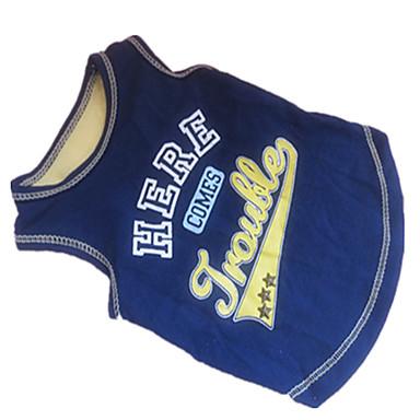 Собака Футболка Одежда для собак Буквы и цифры Синий/Желтый Хлопок Костюм Для домашних животных