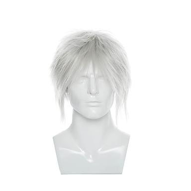 férfi cosplay parókát rövid, egyenes szintetikus haj parókák ezüst színű cosplay jelmez