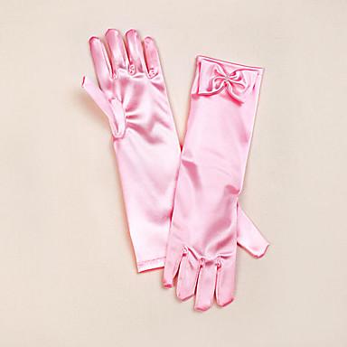 Satin Opernlänge Handschuh Blumenmädchen Handschuhe Mit Schleife