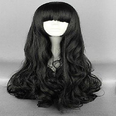 Perruque Synthétique / Perruques de Déguisement Ondulation Lâche Avec Frange Cheveux Synthétiques Noir Perruque Femme Long Perrruque de