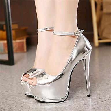 נעלי נשים-בלרינה\עקבים-דמוי עור-עקבים / נעלים עם פתח קדמי-שחור / לבן / כסוף-חתונה / מסיבה וערב-עקב סטילטו