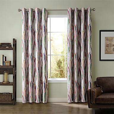 Vorhänge drapiert Wohnzimmer Streifen / Kurve Polyester Druck