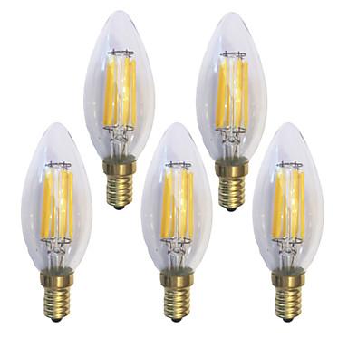 KWB 5pcs 6W 600 lm E14 LED-glødepærer C35 6 leds COB Vanntett Dekorativ Varm hvit AC 220-240 V