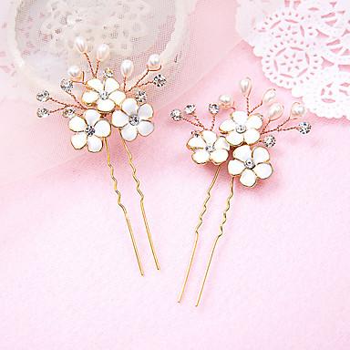 Damen Blumenmädchen Strass Legierung Künstliche Perle Harz Kopfschmuck-Hochzeit Besondere Anlässe Haarklammer 2 Stück