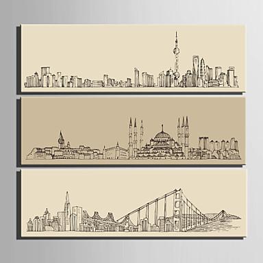 Arkitektur Lerret Print Tre Paneler Klar til å henge,Lodrett