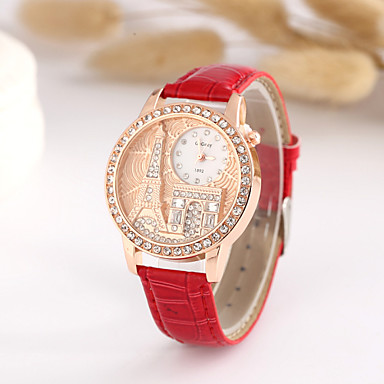 Mulheres Relógio de Moda Simulado Diamante Relógio Quartzo imitação de diamante PU Banda Branco Azul Vermelho Marrom Verde RoxaRosa