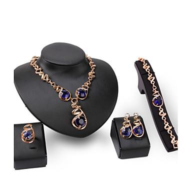 Damen Schmuckset Synthetischer Saphir Edelstein & Kristall Kubikzirkonia vergoldet 18K Gold Rose Gold überzogen Aleación Luxus Retro