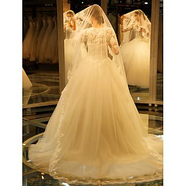Egykapcsos Csipke szegély Menyasszonyi fátyol Katedrális fátylak A Hímzés Csipke Tüll