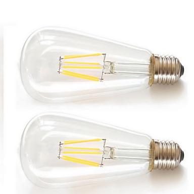 KAKANUO 2pcs 6W 600 lm E26/E27 LED-glødepærer ST64 6pcs Filament COB leds COB Dekorativ Varm hvit AC 85-265V