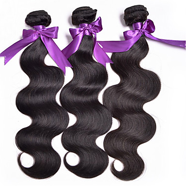 טווה שיער אדם שיער ברזיאלי Body Wave 18 חודשים 4 חלקים שוזרת שיער