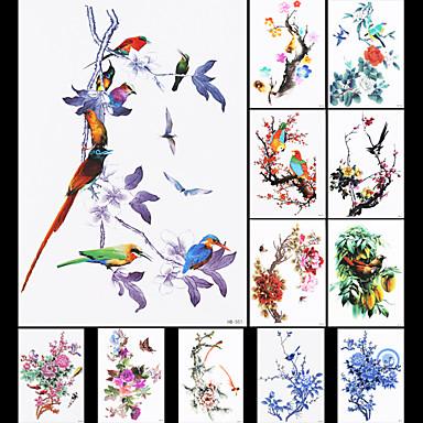 12pcs מדבקות ציפור פרח סיני ציור מסורתי מדבקה עמידה למי קעקוע זמני זהבן לאמנות גוף גברי נשים