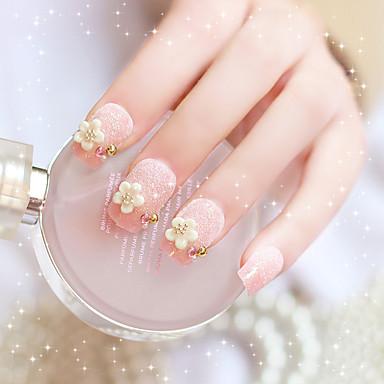 24X / set falsche Nägel falschen Nagel fertig Maniküre Nägel Spitzen Blume weiße Perle