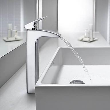 Nykyaikainen Pöytäasennus Vesiputous Keraaminen venttiili Yksi reikä Yksi kahva yksi reikä Kromi , Kylpyhuone Sink hana