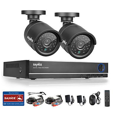 sannce® 720p ahd 720p 4ch vedio dvr lakásfelügyeleti biztonsági kamera rendszer (fekete)