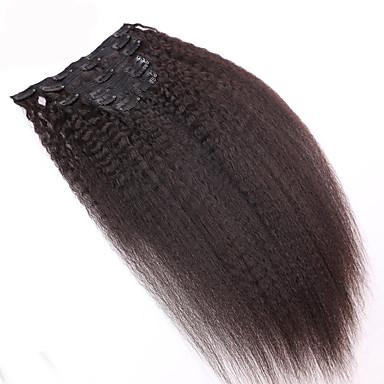 8a 100% קליפ טבעי תוספות שיער אנושיות ברזילאי קליפ שיער הארכת קינקי ישר