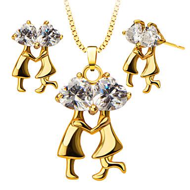 Mulheres Cristal Conjunto de jóias - Strass, Chapeado Dourado Vintage, Fashion Incluir Colar / Brincos Dourado Para Casamento / Festa / Diário / Colares