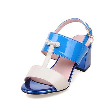 Magassarkú / Kényelmes / Nyitott orrú-Vastag-Női cipő-Szandál-Irodai / Ruha-Lakkbőr / PU-Kék / Rózsaszín / Tengerészkék