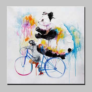 große handgemalte Ölgemälde auf Leinwand moderne abstrakte Tier Jungen und Panda mit gestreckten Rahmen fertig zum Aufhängen