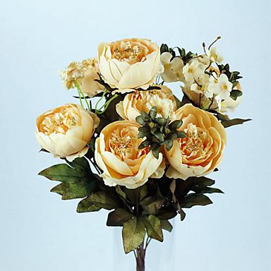 Poliéster Peônias Flores artificiais