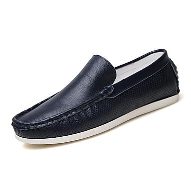 Herre-Nappa Lær-Flat hæl-Komfort-Flate sko-Bryllup Kontor og arbeid Formell Fritid Fest/aften-Blå Oransje