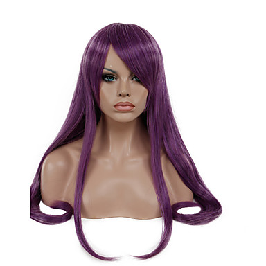 Mulher Perucas sintéticas Sem Touca Longo Liso New Purple Perucas para Fantasia