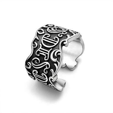 男性用 指輪 調整可能 オープン チタン鋼 ジュエリー 結婚式 パーティー スポーツ