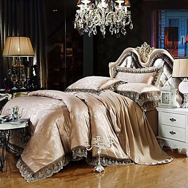 billige Dynesæt-luksus dynebetræk sæt silke bomuld blanding jacquard 4 stk sengetøj sæt
