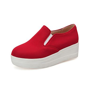 Platform / Tipegő / Kényelmes-Talp-Női cipő-Mokaszinek-Szabadidős-Szövet-Piros
