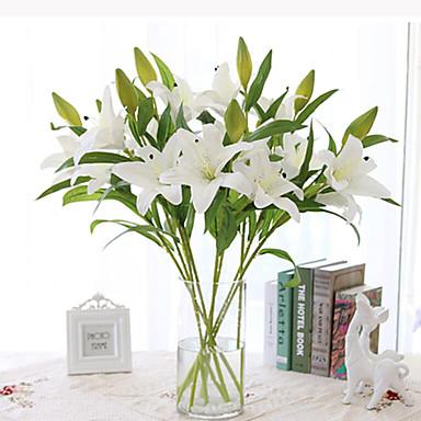 Kunstige blomster 1 Gren Enkel Stil Liljer Bordblomst
