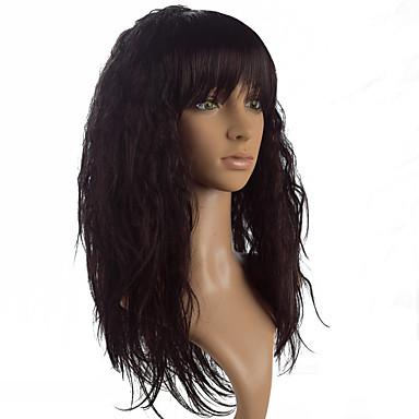 Synthetische Haare Perücken Yaki-Stil Gerade Mit Pony Natürliche Perücke Lang Schwarz Braun Fuxia