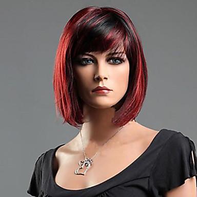 povoljno Perike i ekstenzije-Sintetičke perike Ravan kroj Stil Perika Red Mixed Black Sintentička kosa 10 inch Žene Crvena Perika Kratko