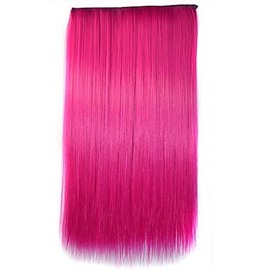 26-Zoll-Clip in der synthetischen rosa Farbe gerade Haarverlängerungen mit 5 Clips